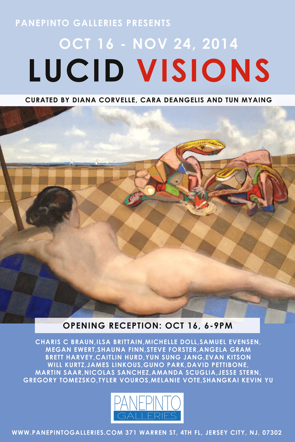 "Poster design by Tun Myaing, featuring Gregory Tomezsko's The Beach, oil on canvas 30"" x 40"""