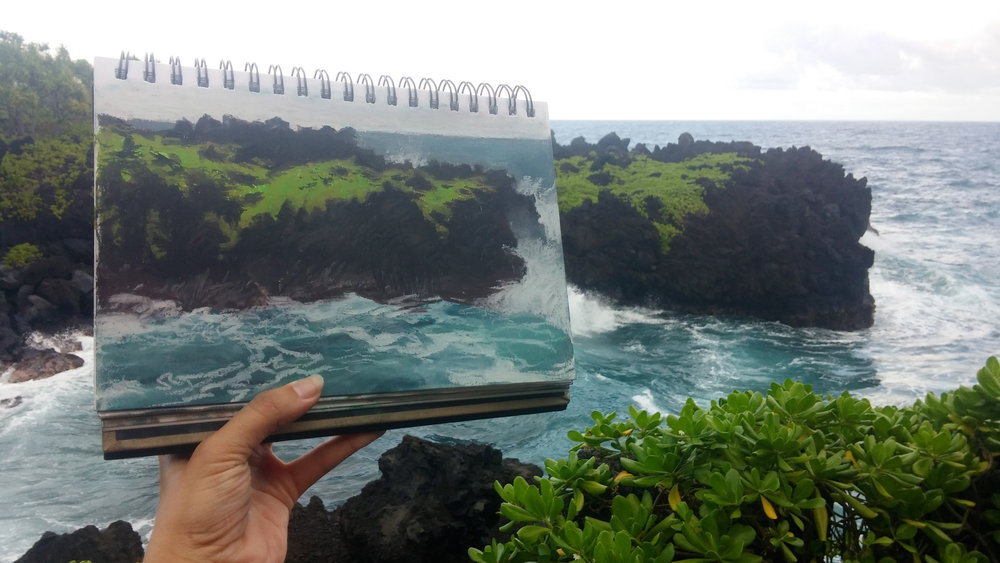 Plein air sketching at Black Sand Beach, Maui, with my trusty (and portable!) Caran d'Ache oil pastels.