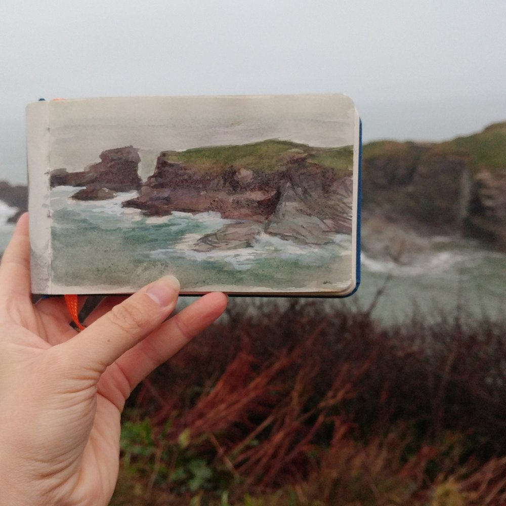 "Cornwall sketch,  watercolor and gouache in sketchbook, 3.5"" x 5.5"", 2017 Diana Corvelle"