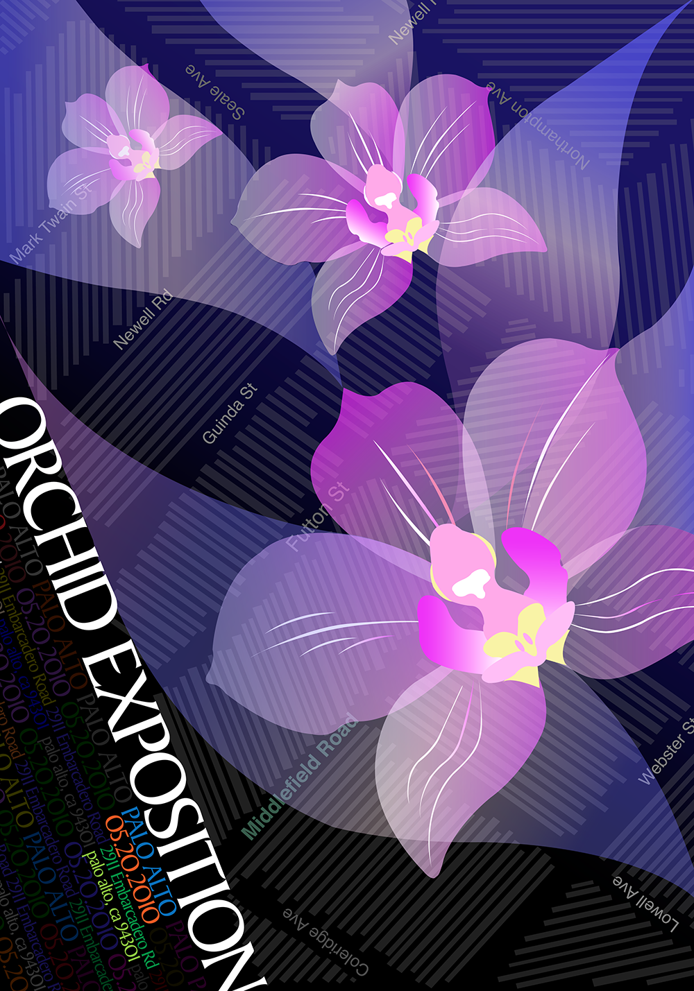 Poster design for an orchid show in Palo Alto.