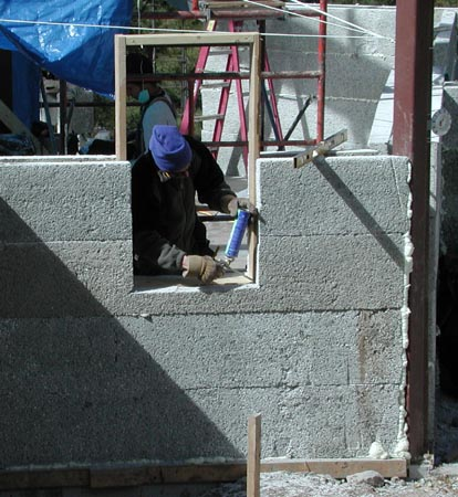 "14"" thick Perform Wall Systems are easily installed by an experienced crew. This innovative product uses cement to bind recycled styrofoam into 10' long blocks that have a hollow matrix which is filled with concrete and rebar to make a superior structural wall system."