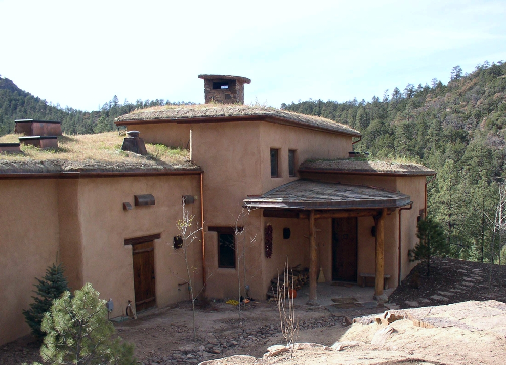 Grass sod roof provides habitat for birds at an elevation of 8000'.