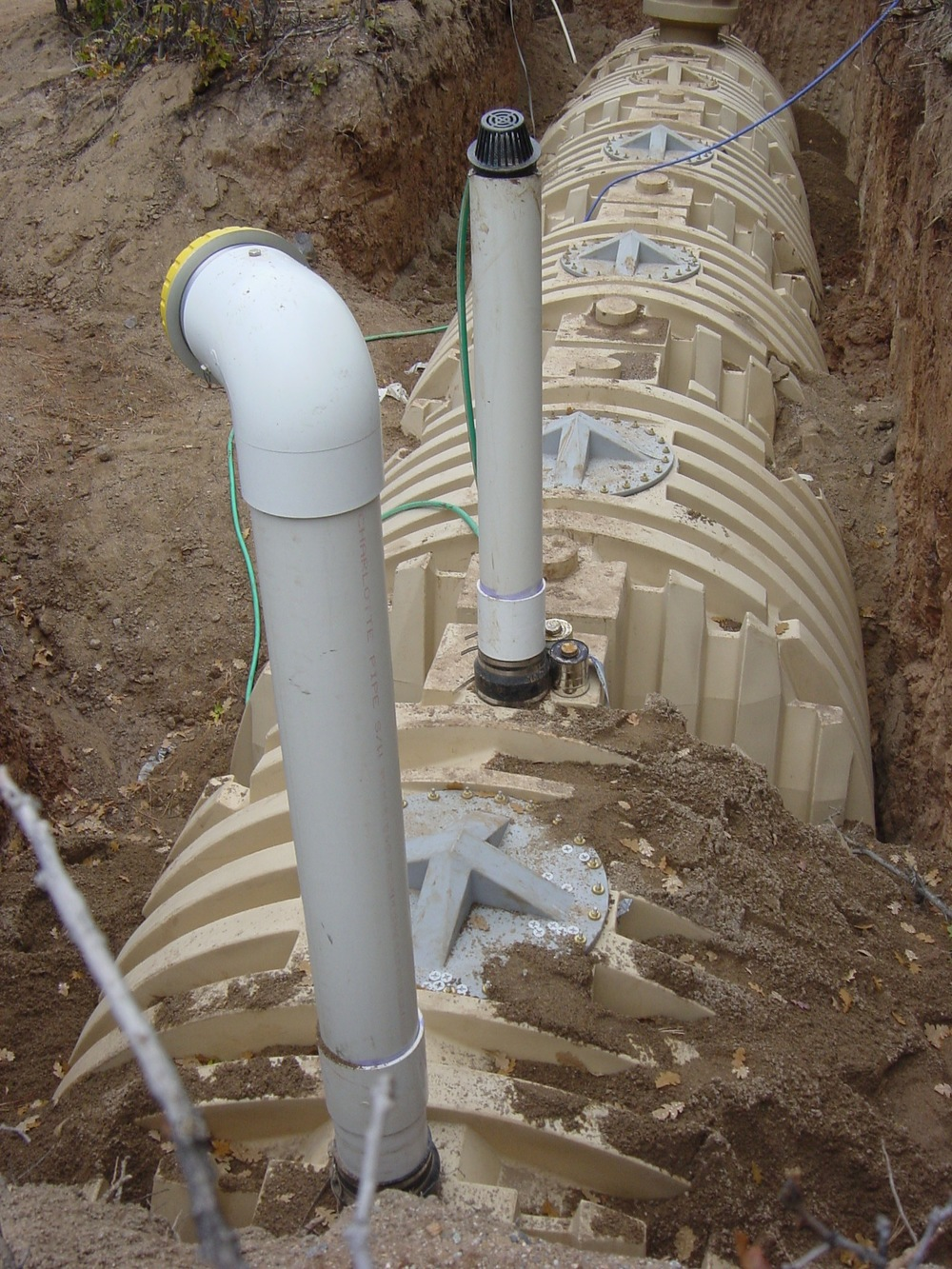 Water storage cisterns being installed.