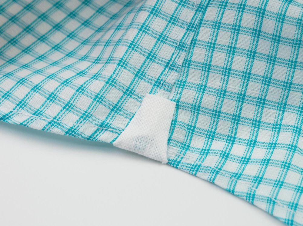 Hand sewn gussets, a hallmark of a well-made shirt