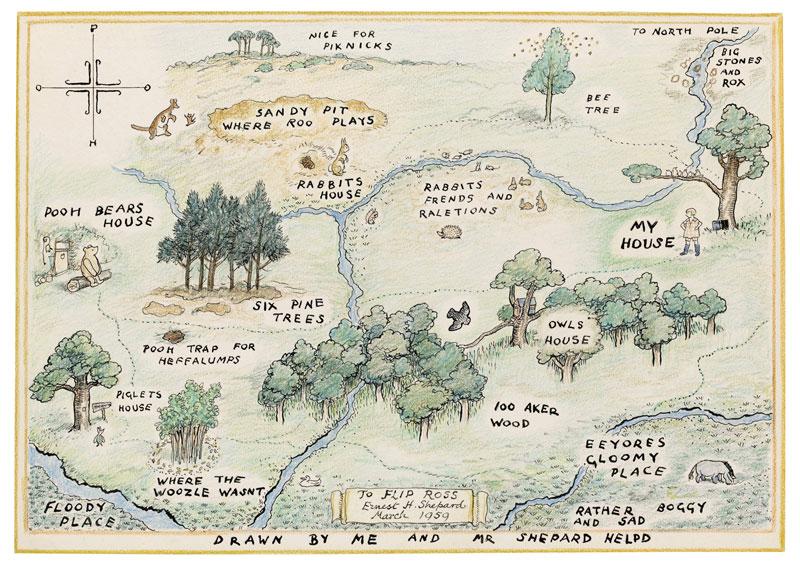 El bosque de los Cien Acres, de Winnie-the-Pooh. Dibujo original de E.H. Shepard (vía Patucha Bhoot.). El bosque original, al comienzo de este artículo.