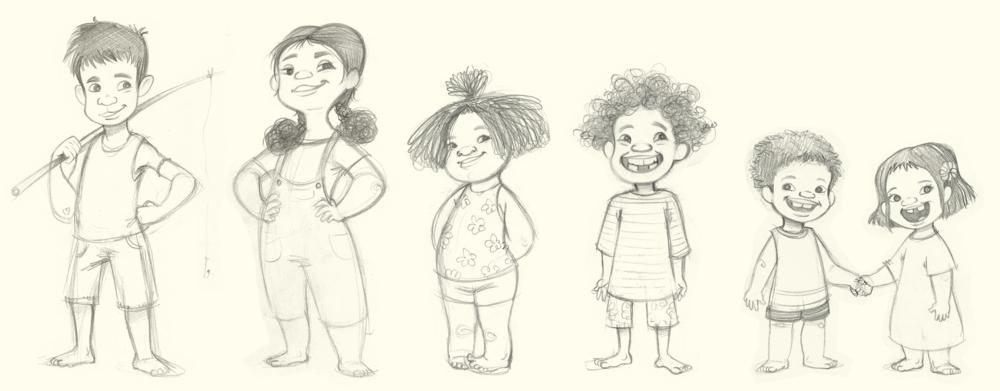 Boceto para el libro ¨Los náufragos de Tonga¨, por Alicia Borges.