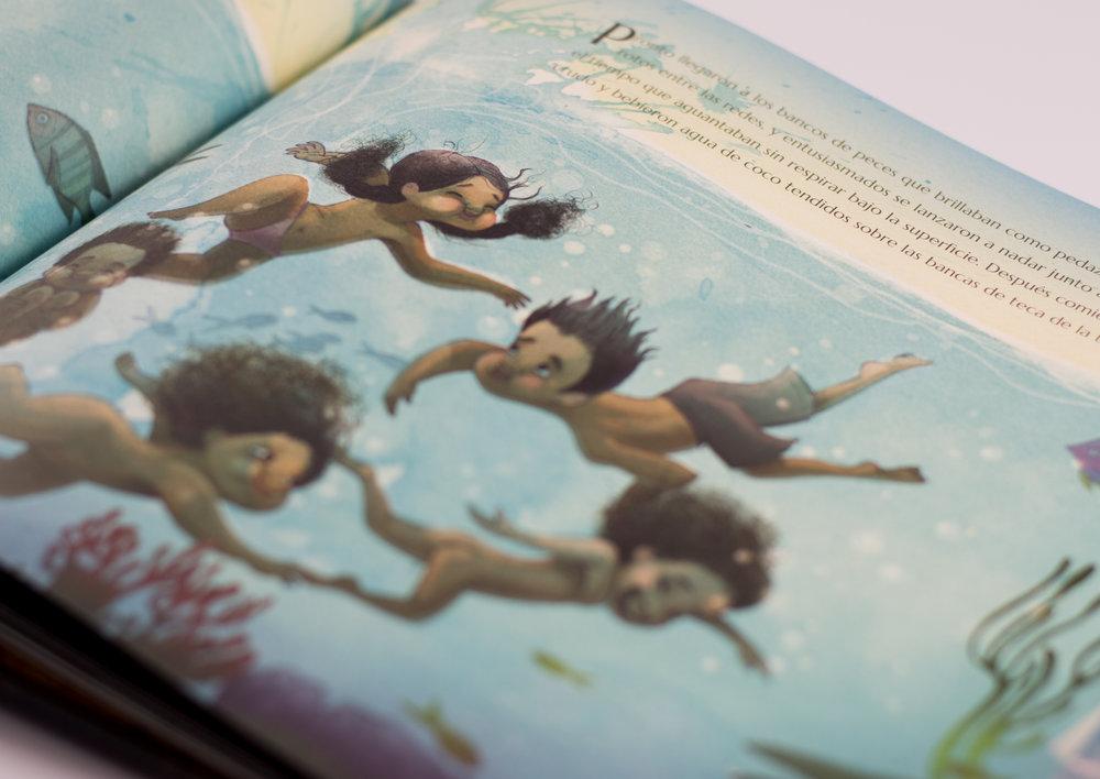 """""""Pronto llegaron a los bancos de peces que brillaban como pedazos de espejos rotos entre las redes, y entusiasmados se lanzaron a nadar junto a ellos"""""""