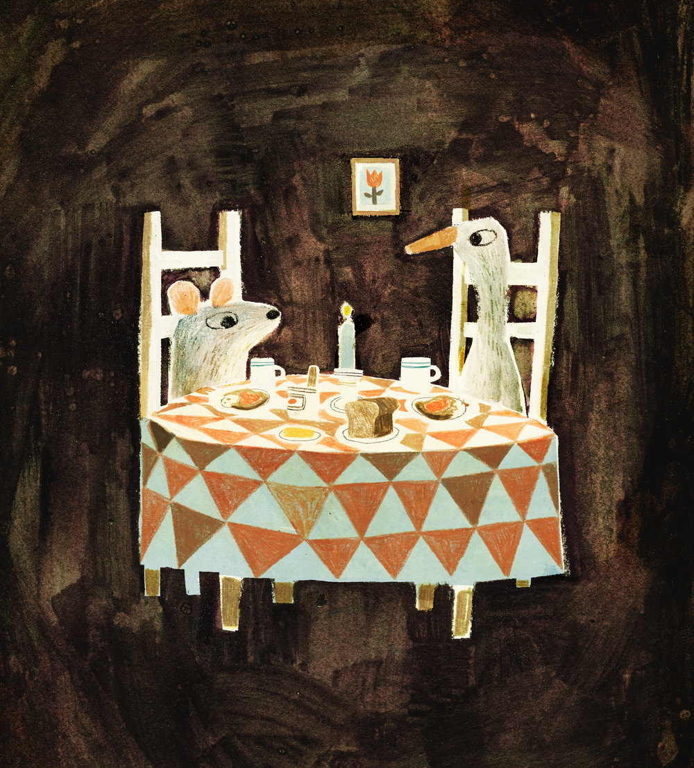 Illustration by Jon Klassen from  The Wolf, the Duck, and the Mouse,  by Mac Barnett