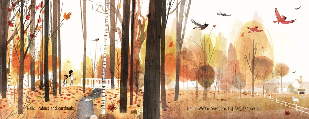 Interior spread from  Goodbye Autumn, Hello Winter , Kenard Pak