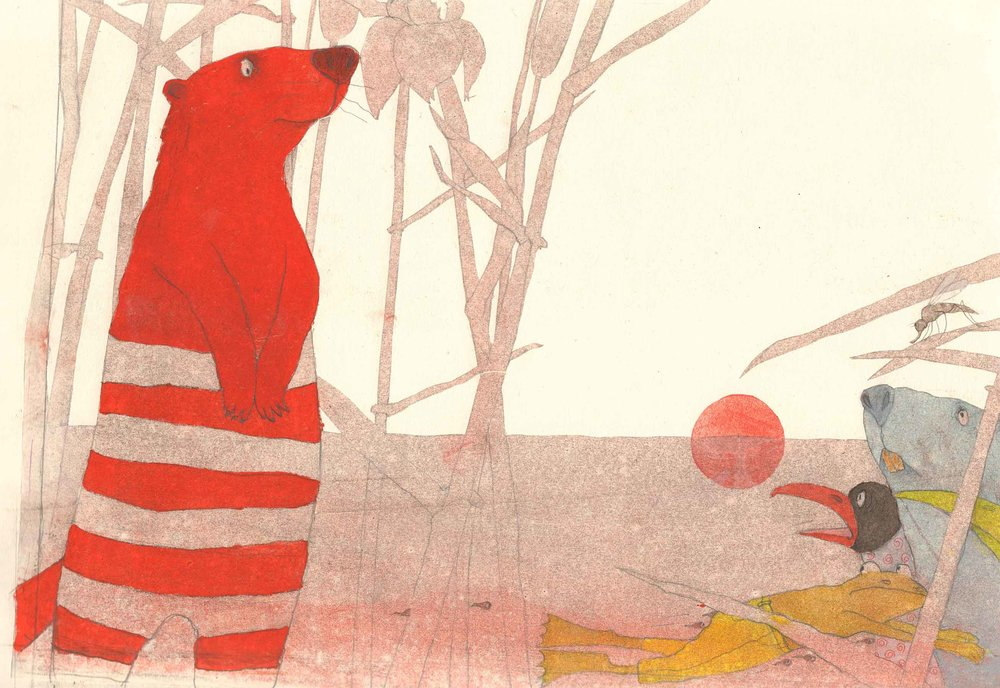 Illustration from interior spread in   Attention Weasel!  , Helga Bansch