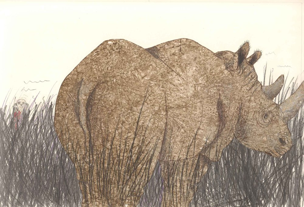 Illustration from interior spread in   Here Comes Rhinocero  s, by Heinz Janisch, illustration by Helga Bansch