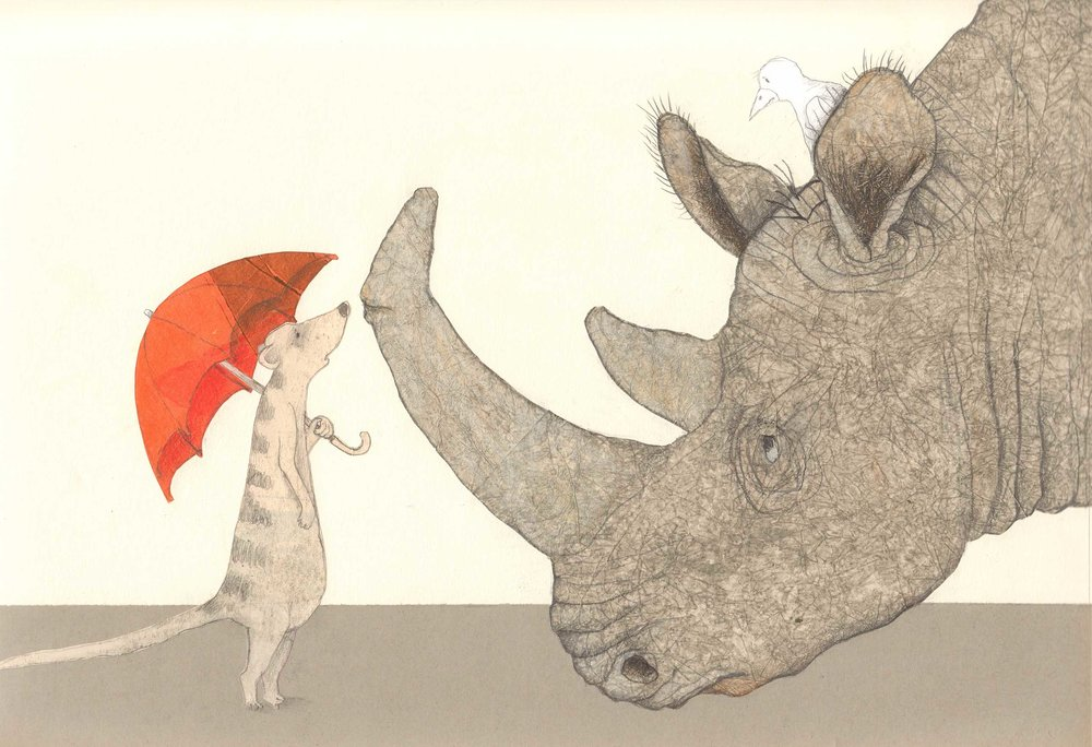 Final illustration in   Here Comes Rhinoceros  , Helga Bansch