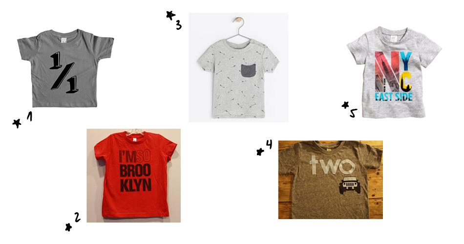 1.  Vicarious Clothing   2.  I'm so Brooklyn   3.  Zara   4.  lil threadz clothing   5.  H&M