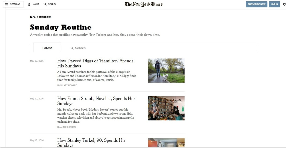 Print screen The New York Times stranice Ideja za post via Cup of Jo