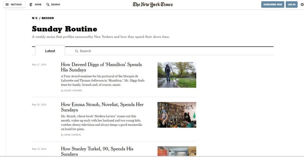 Print screen The New York Times stranice Ideja za post via Cup of Jo
