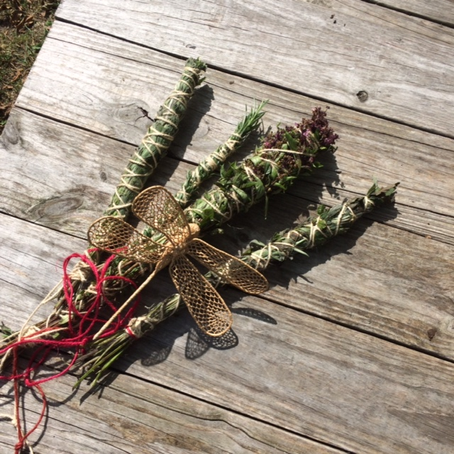 Make our own smudge with local herbs