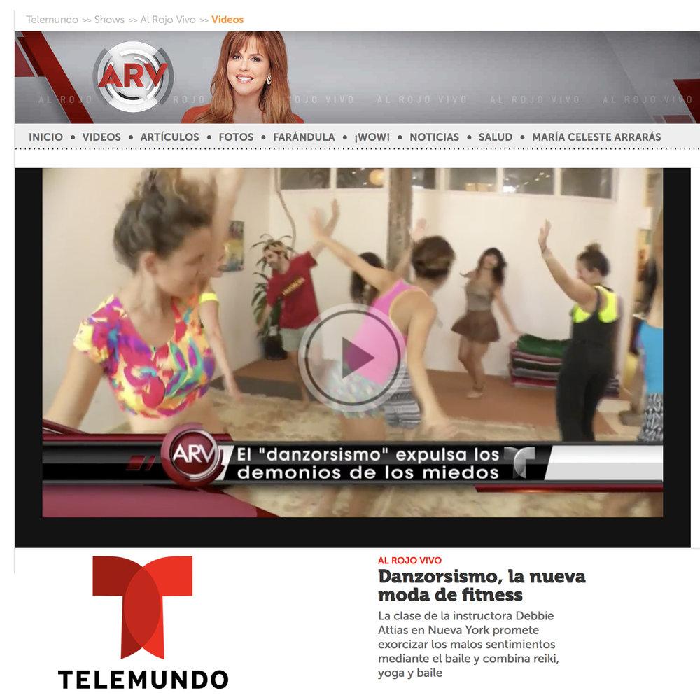 """Al Rojo Vivo, Telemundo, (TV)  """"Danzorsismo, la nueva moda de fitness""""   ,  2016"""