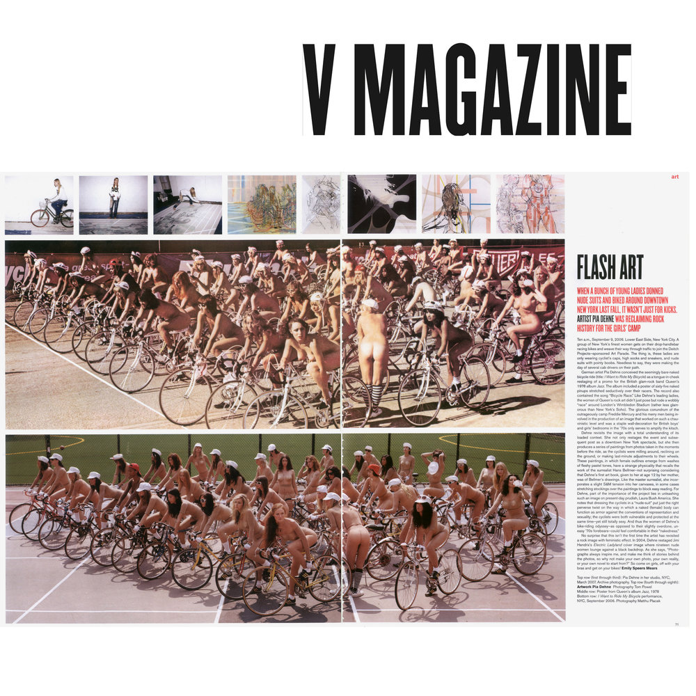 V Magazine (Print), 2006,  Flash Art (performance in a piece by Pia Dehne- can you find me?)