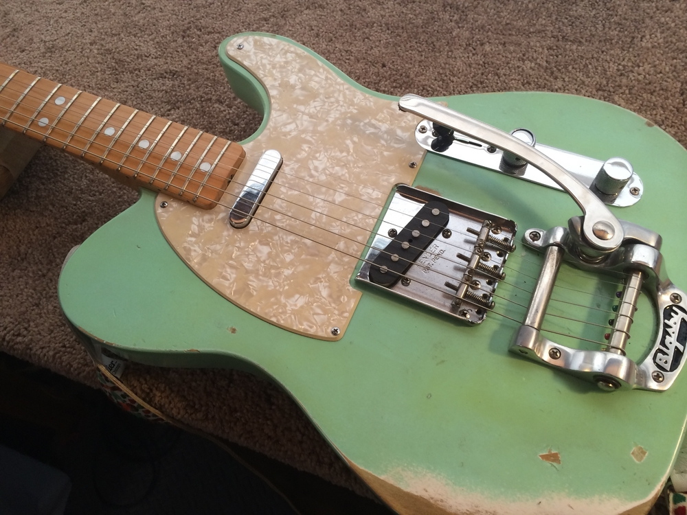 Sea foam green Baja Tele...sounds killer with it's matching Fender SuperSonic!