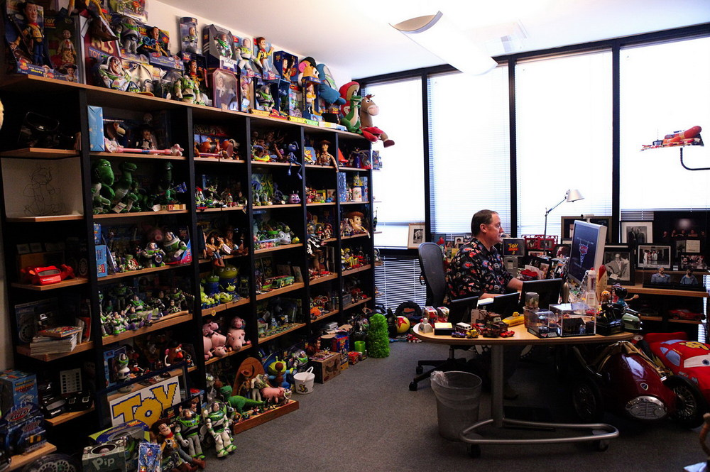 CEO of Pixar's John Lasster sitting in his office.