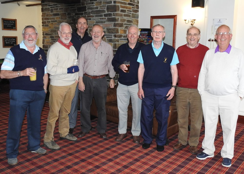 First OY Golf day in Cornwall  L to R: Alan May, Simon Williamson, Nigel Gaymer, Rob Bradshaw, Mike Harrington, Rob Rowland, Gordon Chubb and Ken Doig.