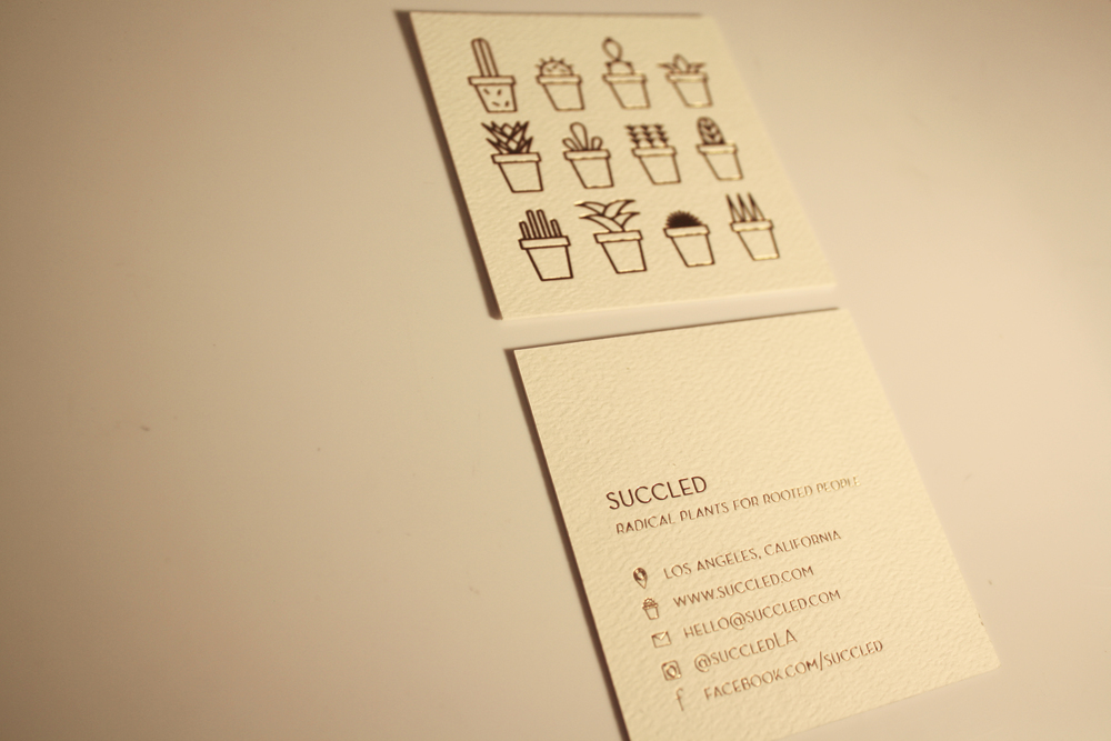 gold foil business cards for Succled, a Southern California drought-tolerant garden design company.