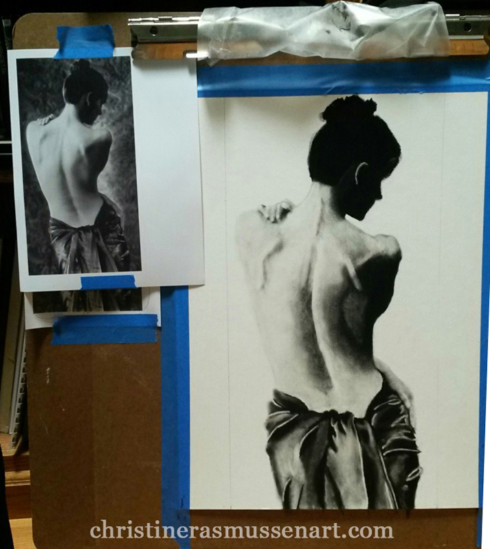 In-progress charcoal drawing; source image on the left.