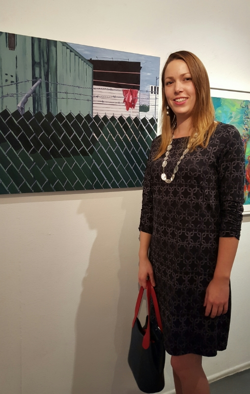 """Me in front of my painting, """"Over,""""at the opening."""