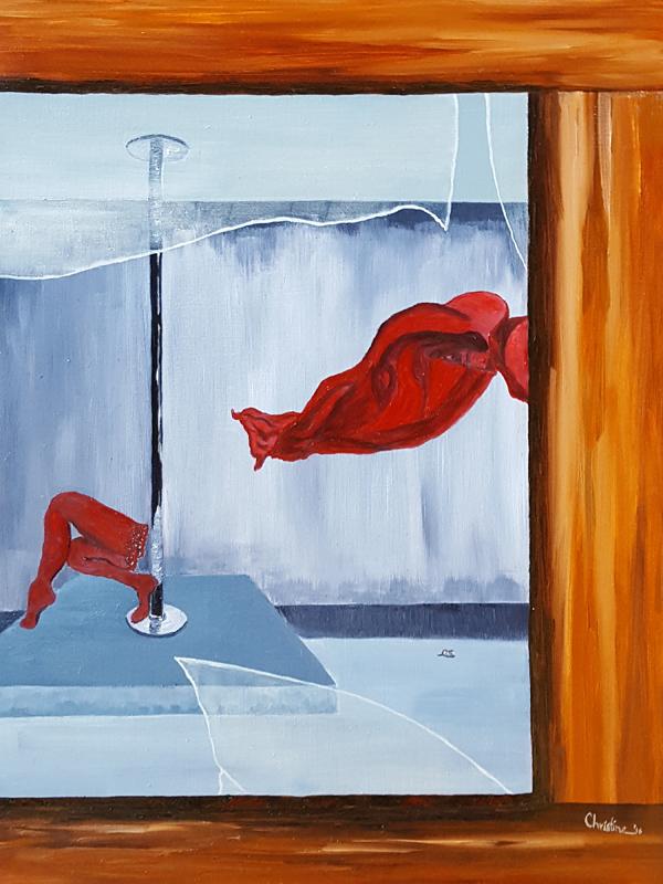 "C. Rasmussen. Peeping Tom, 2016   $193   9""x12""   Oil on wood panel"
