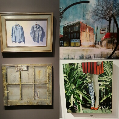 Paintings by Eric Forsythe (left, top and bottom), Liz Brizzi (top right) and Jolene Lai (bottom right).