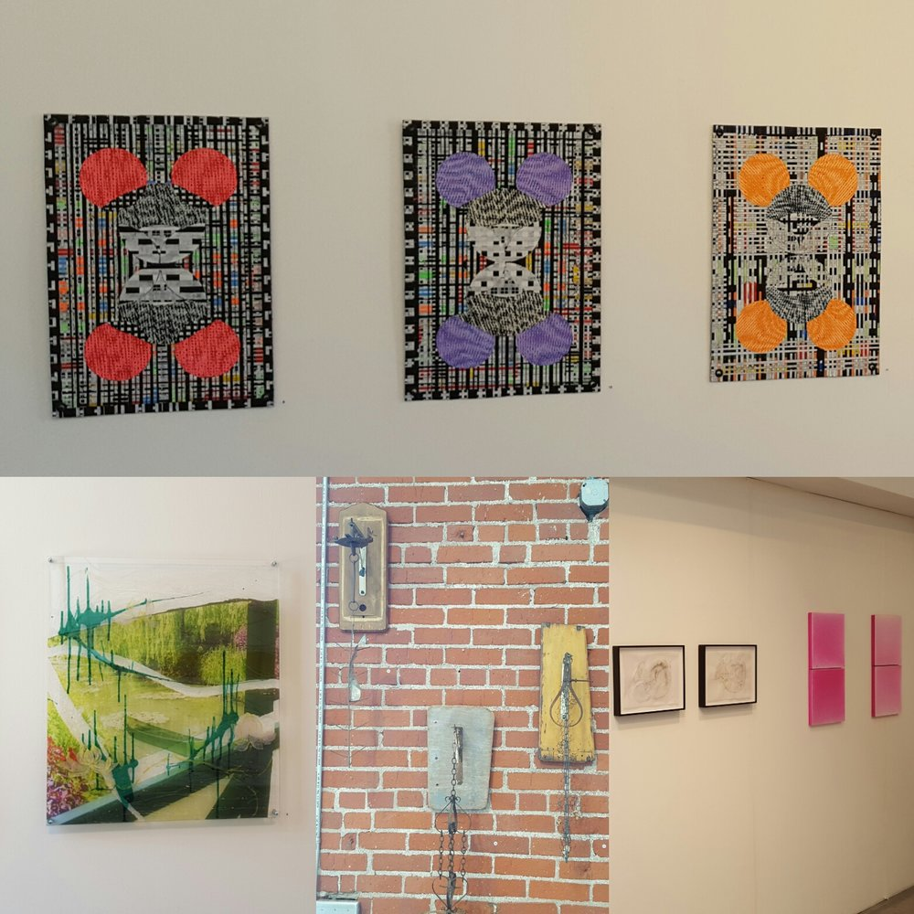 Artwork by: Michael Freitas Wood (top), Won Sil Kim (bottom left), Ben Zask (bottom middle), Nicholette Kominos & Da Aie Park (bottom right). Photo credit: Christine Rasmussen
