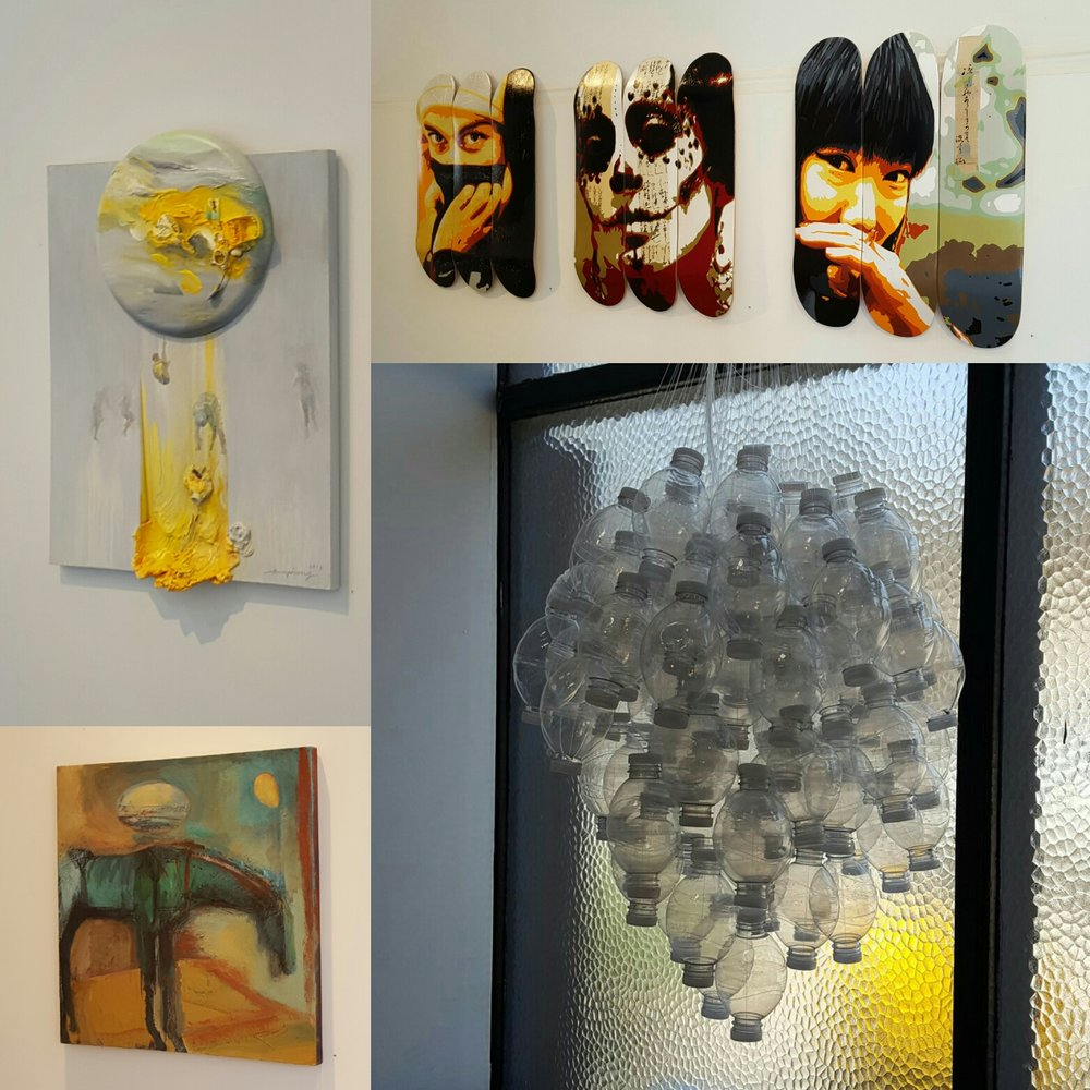 Artwork by: Ann Phong (top left), Lore Eckelberry (top right), Tracey Weiss (bottom right), Peggy Sivert (bottom left). Photo credit: Christine Rasmussen.