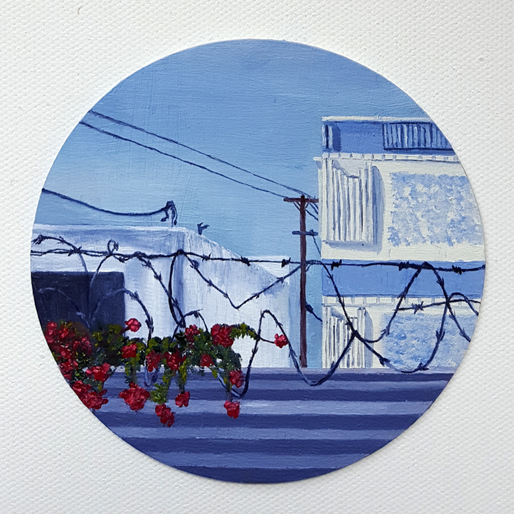 C. Rasmussen |  Grabbing Hold  |   2016 | $60 | Oil on 4-inch coaster |  Click image  to view making-of timelapse video