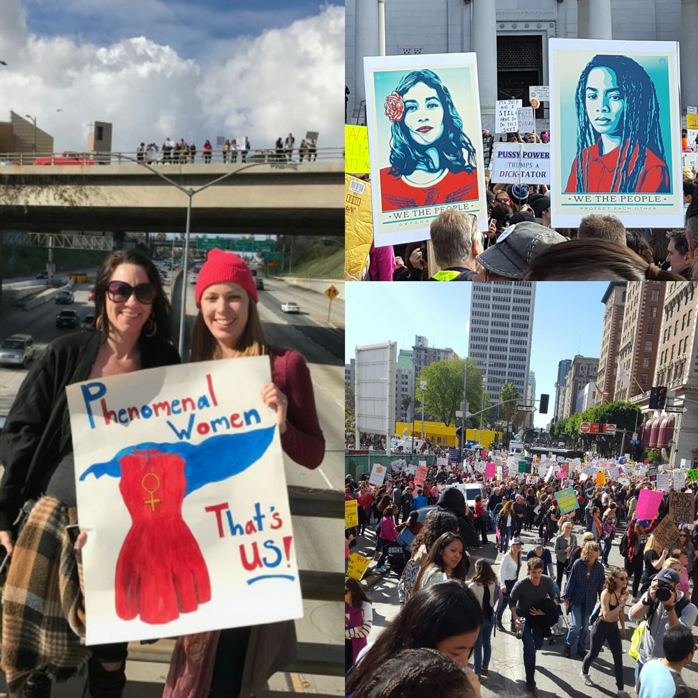 Left: Linnea Ficklin &  Christine Rasmussen , in pink hat, holding my poster with a play on the  Maya Angelou poem  (photo by Louise Flores). Right (top): posters designed by  Shepard Fairey  for  The Amplifier Foundation  and available for free download  here  (photo by C. Rasmussen). Right (bottom): crowds on Olive and 5th streets in downtown LA on Jan. 21, 2017 (photo by C. Rasmussen).