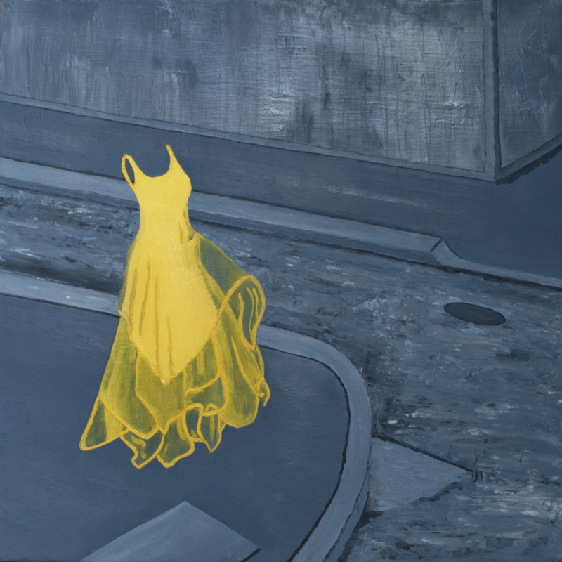 C. Rasmussen | She Wore Lemon | oil & acrylic on canvas | 12 x 12 inches | Sold; prints available.