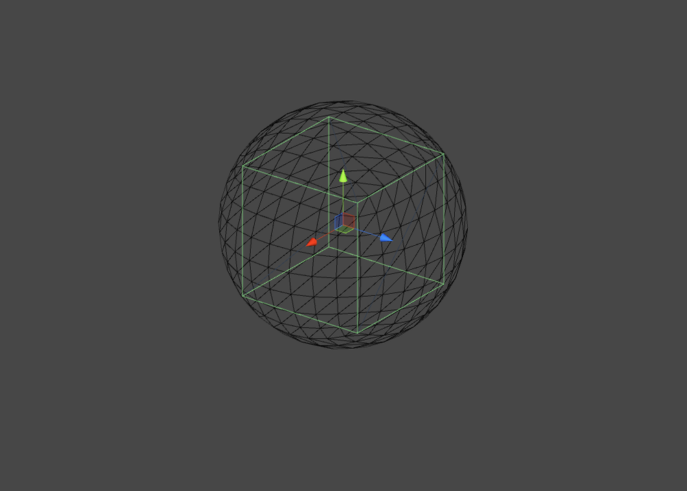 A sphere fully surrounding a cube. The sphere's radius is half the length of the vector (boxlength, boxwidth, boxdepth).