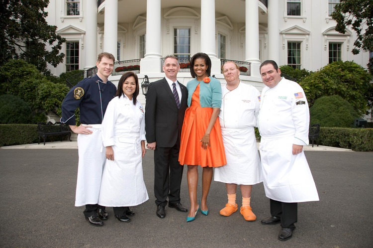 AT THE WHITE HOUSE WITH CHEFS FLAY, COMMERFORD, BATALI & LAGASSE WITH FIRST LADY MICHELLE OBAMA