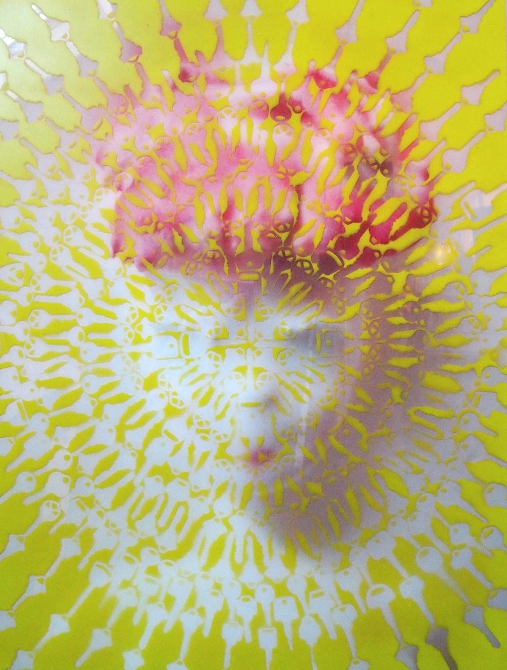 """lucy  (pattern/glass)  original photograph back printed onto glass using full color UV inks; spray paint; key stencils  22""""x29""""  sold"""