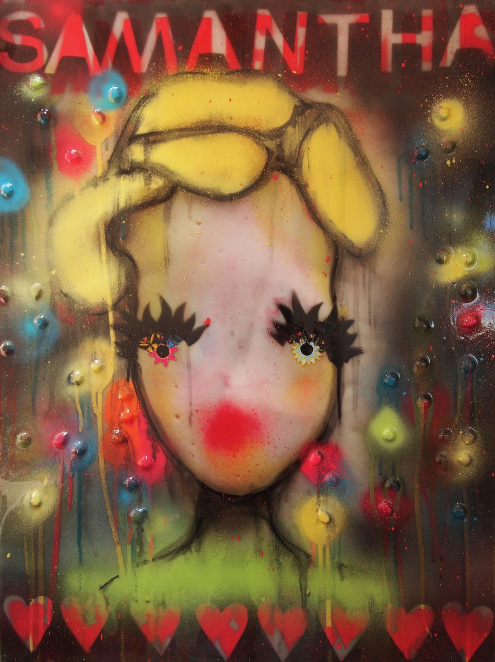 samantha (beautiful monster/hot mess)  22x29  image backprinted onto glass, spraypaint, mixed media