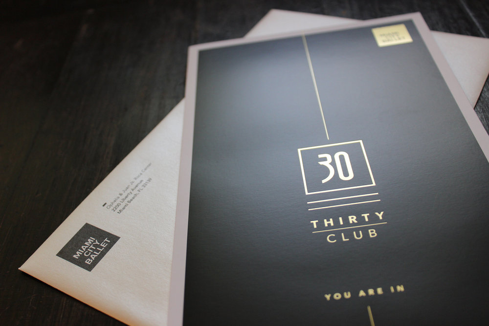 Development material, 30 Club membership mailer