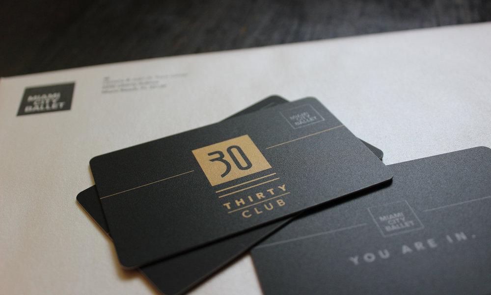 Development material, 30 Club membership card