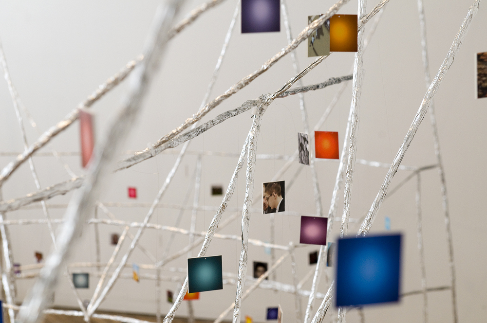 Detail from the   Interplanetary Death Star  , 2008  aluminum foil, hair thread, and photographs 12 x 19 x 7 feet © Brent Wahl
