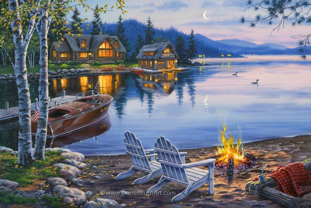 Evening At The Lake Darrell Bush Art