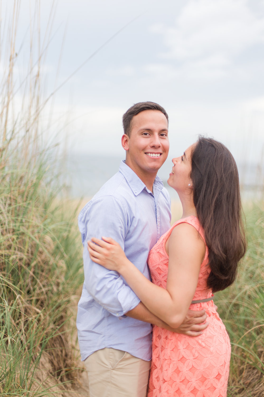 coral and blue beach beloved lifestyle session in Norfolk, Virginia