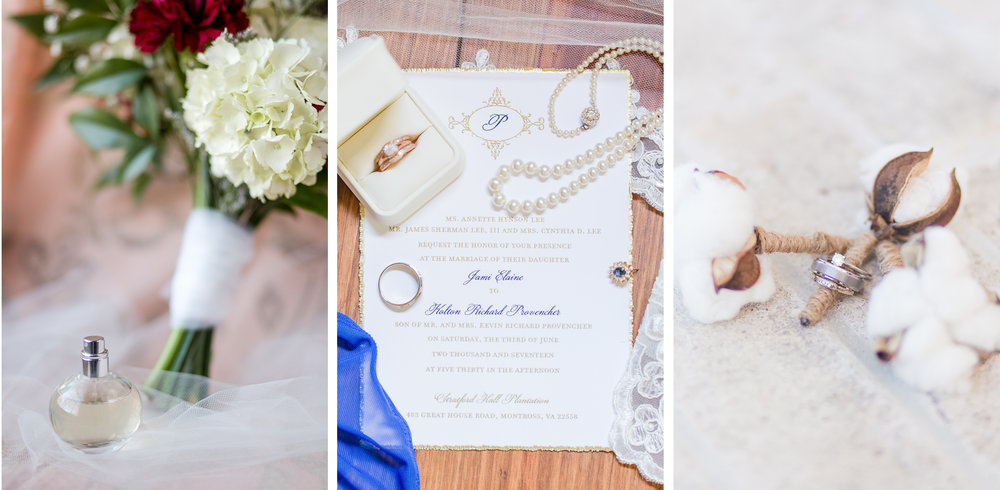 wedding details, perfume bottle, small bouquet, lace, intimate pearls, pressed parchment invitations, wedding rings