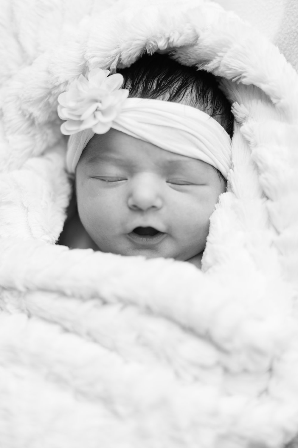 newborn photography, baby girl, days old, pink blanket, bows, unicorn, flowers