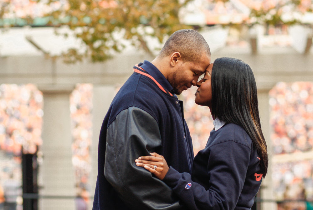 Tiphanie and John used this picture for their adorable save the dates! Taken in front of Scott Stadium on game day.