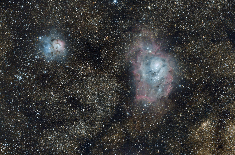 """The Lagoon and Trifid Nebula"""