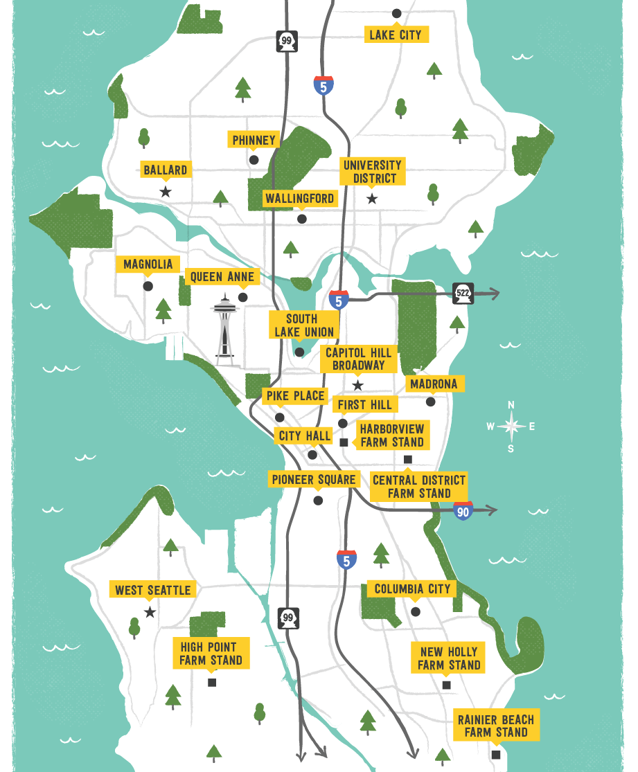 Map of Seattle for Fresh Bucks