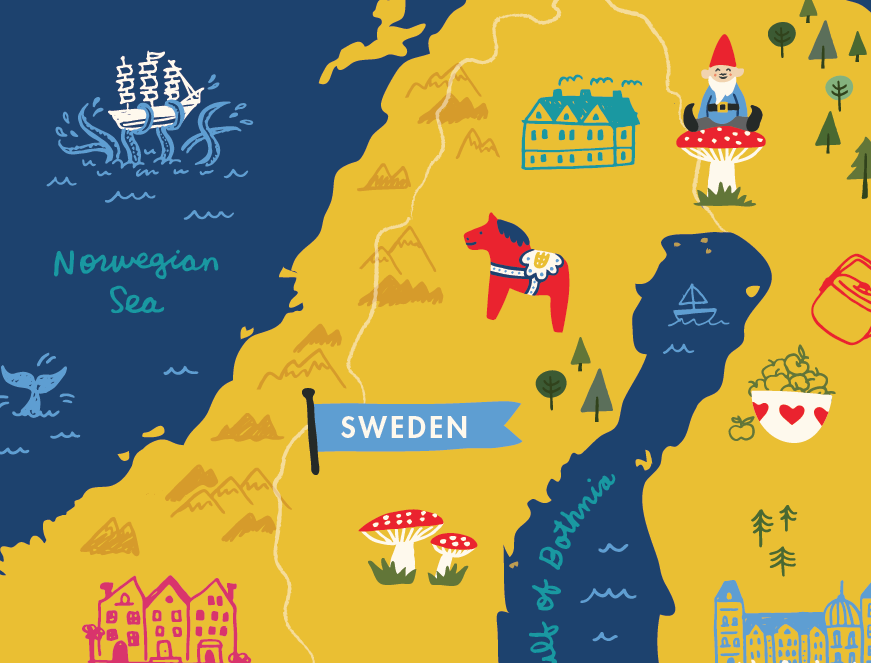 Illustrated Maps Kat Marshello - Map of scandinavia